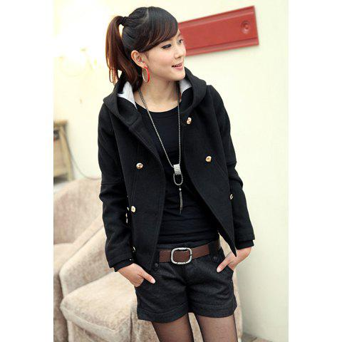 Loose Fit Hooded Double Breasted and Pocket Design Women's Wool Blended Coat - BLACK XL