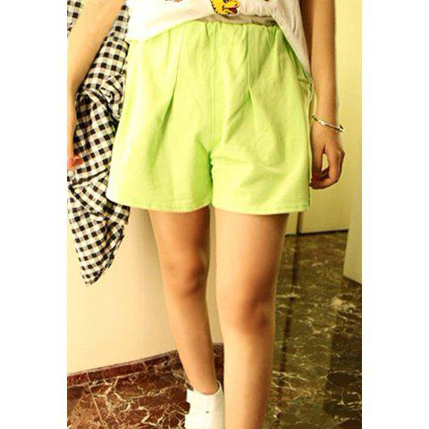 Casual Mix Match Loose Fitting Solid Color Women's Culotte - GREEN ONE SIZE