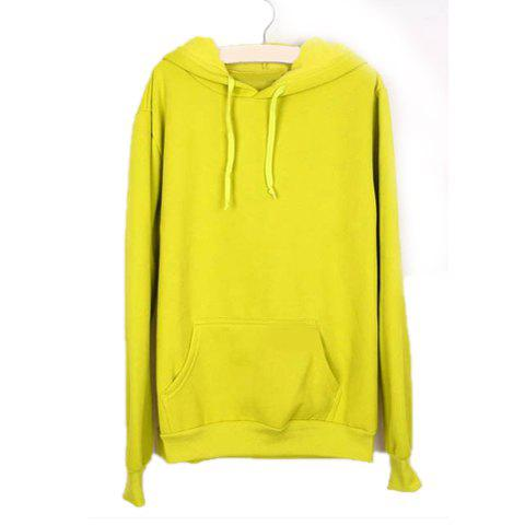 Charming Hooded Thicken Casual Pocket Design Long Sleeves Green Cotton Blend Women's Hoodies - GREEN M