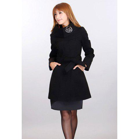 Slimming Turtleneck Solid Color and Waistband Design Women's Wool Blended Coat - BLACK M