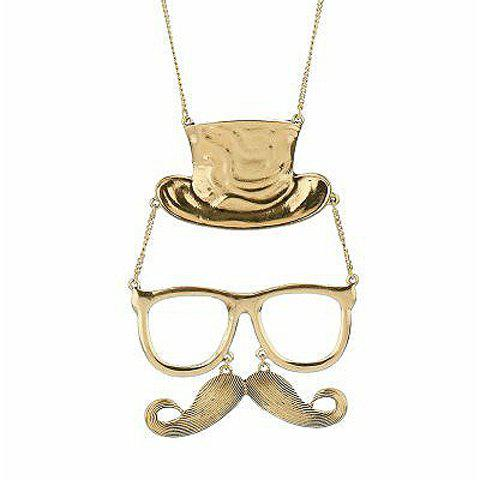 Retro Style Glass Mustache With Hat Shape Pendant Sweater Chains