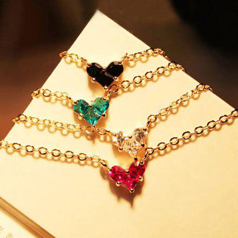 Fashion and Elegant Style Crystal Inlaid Heart Shape Pendant Necklace For Women - COLOR ASSORTED
