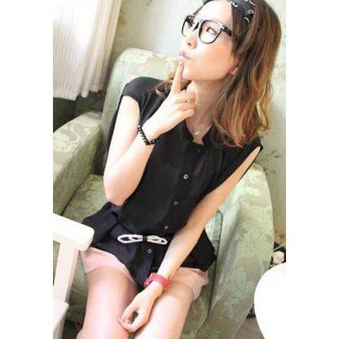 Loose-Fitting Stand Collar Front Button Sleeveless Chiffon Women's Shirt - BLACK ONE SIZE