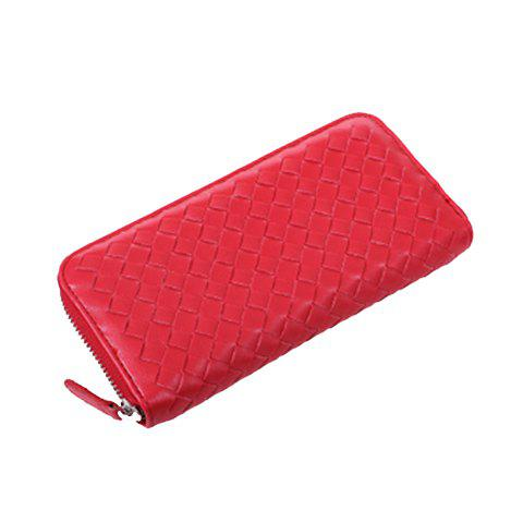 Candy Color and Weaving Design Women's Wallet - RED