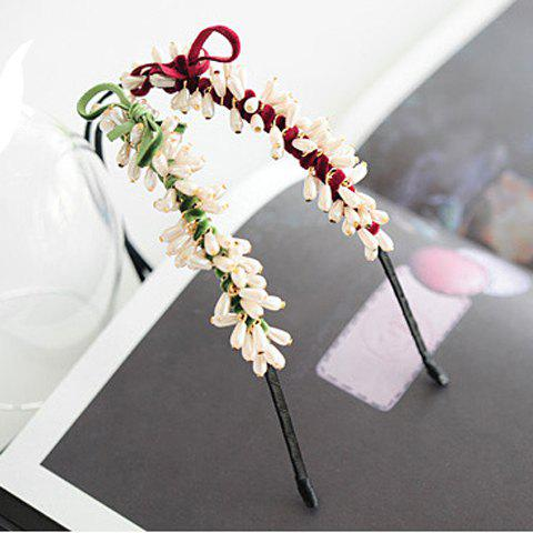 Sweet Style and Stylish Beads Embellished Redbud Shape Hair Loop For Women
