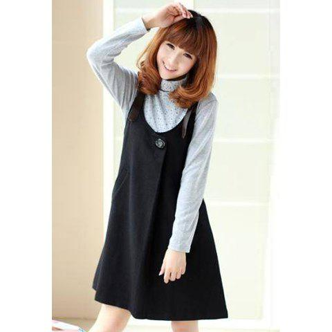 Fairy Scoop Neck Single Button Sleeveless Solid Color Cotton Blend Women's Dress - BLACK S