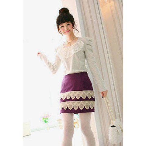 Stylish Slimming Fit Lace Embellished Thickened Woolen Women's Bud Skirt - AS THE PICTURE M
