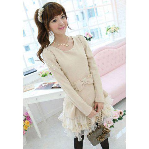Sweet Scoop Neck Bowknot Embellished Wool Splicing Gauze Long Sleeve Women's Dress - AS THE PICTURE M