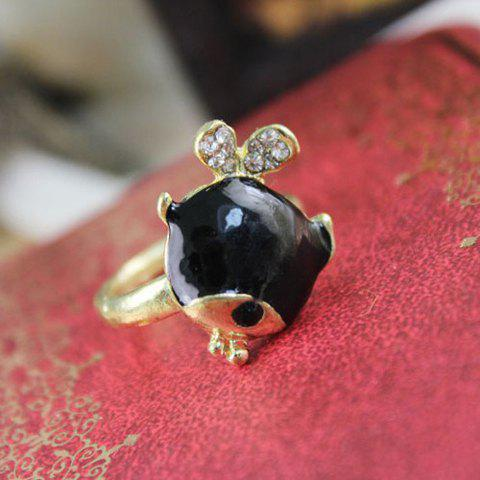 Cute Little Fish Shape Rhinestone Embellished Alloy Women's Ring - AS THE PICTURE