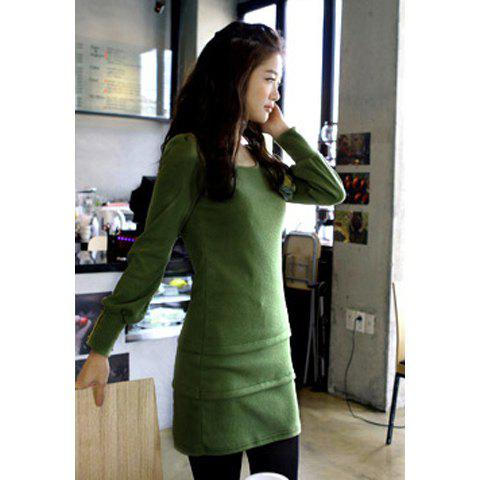 Stylish Scoop Neck Button Embellished Puff Long Sleeve Cotton Women's Dress - GREEN ONE SIZE
