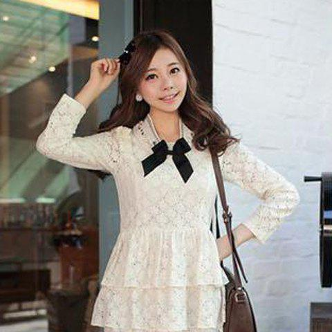 Sweet Style Rhinestone Embellished With Bowknot Openwork Lace Collar Women's Necklace - WHITE