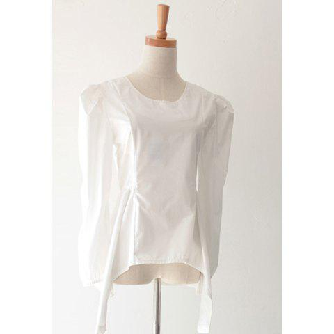 Elegant Style Simple Design Waist Pure Color Long Sleeve Blouse For Women - WHITE M