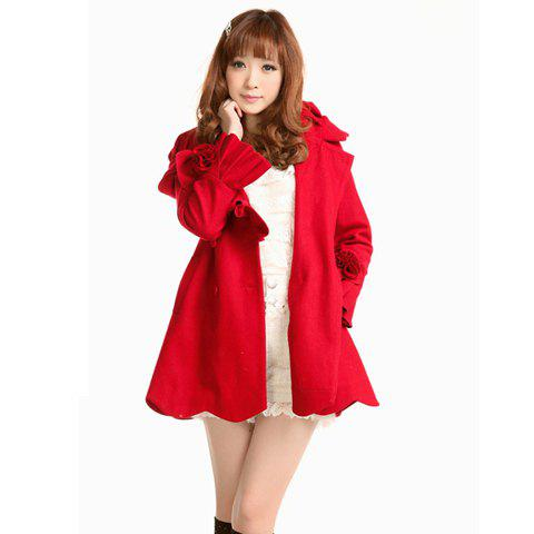 Ladylike Ruffle Design Double-Breasted Long Sleeves Hooded Women's Red Coat - RED S