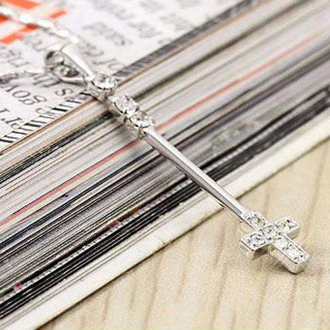 Elegant and Exquisite Rhinestone Embellished Latin Cross Pendant Women's Necklace - WHITE