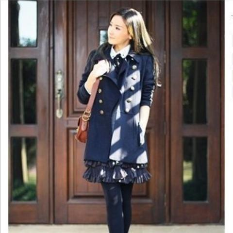 Retro Style Lapel Double-Breasted Long Sleeve Worsted Women's Coat - BLUE M