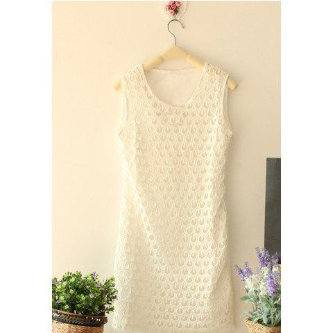 Summer New Style Elegant Openwork Slimming Lace Dress For Women - WHITE ONE SIZE