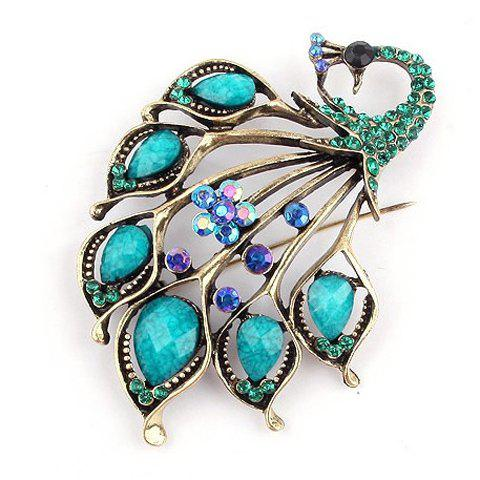 Retro Style Rhinestone Embellished Peacock Shape Brooch - COLOR ASSORTED