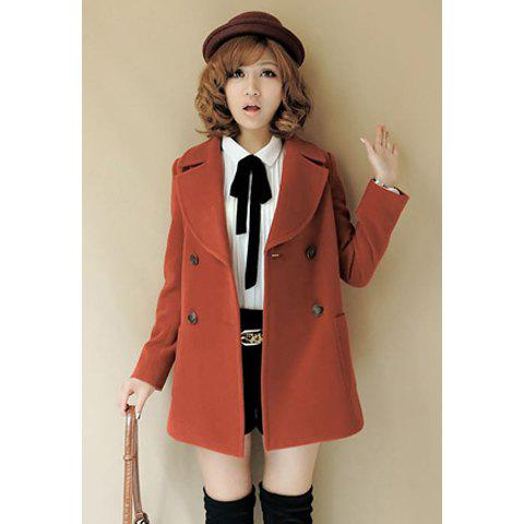 Fashionable Style Slimming Candy Color Double Breasted Design Artificial Wool Worsted Women's Coat - WINE RED S