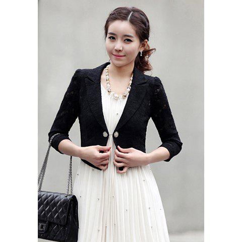Stylish Slimming Fit 3/4 Puff Sleeve Lace Women's Suit Coat - BLACK M