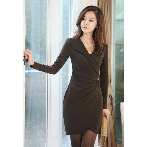 Ladylike V-Neck Pleated Collect Waist Long Sleeve Women's Skinny Dress - COFFEE M
