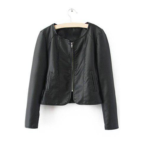 Round Neckline Casual Loose-Fitting Style Solid Color Zipper Long Sleeve PU Leather Women's Jacket - BLACK L
