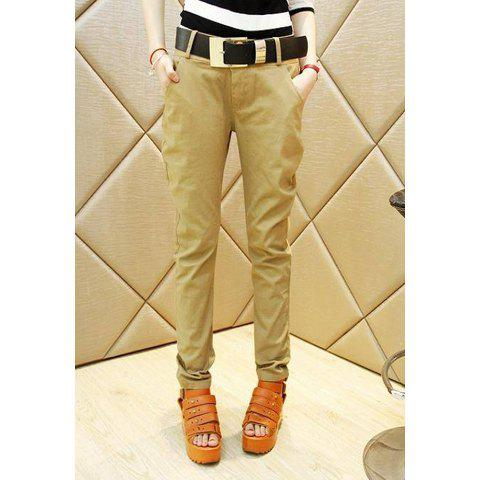 Casual Stylish Style Solid Color With Belt Cotton Women's Harem Pants - KHAKI S
