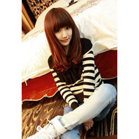 Turndown Collar Stripe Print Long Sleeve Knitting Women's Sweater - STRIPES ONE SIZE