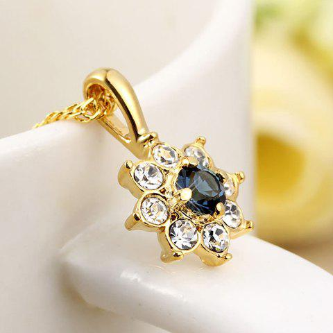 Elegant Style and Sparking Rhinestone Embellished Flower Pendant Necklace For Women - GOLD
