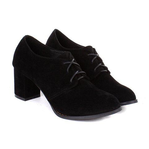 Casual Laconic Solid Color Chunky Heel Lace-Up Design Women's Boots - BLACK 38