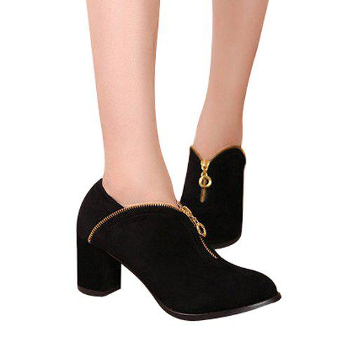 Laconic Elegant Solid Color Chunky Heel Zipper Design Women's Boots