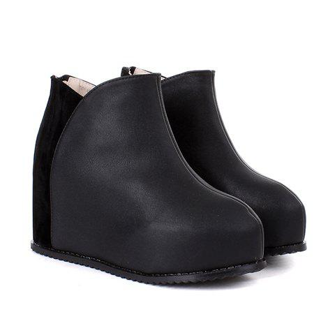 Casual Fashion Color Matching Splicing Wedge Heel Design Women's Platform Boots