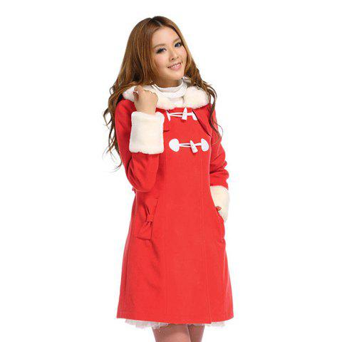 Slimming Long Sleeve Christmas Style Woolen Coat For Women - RED S
