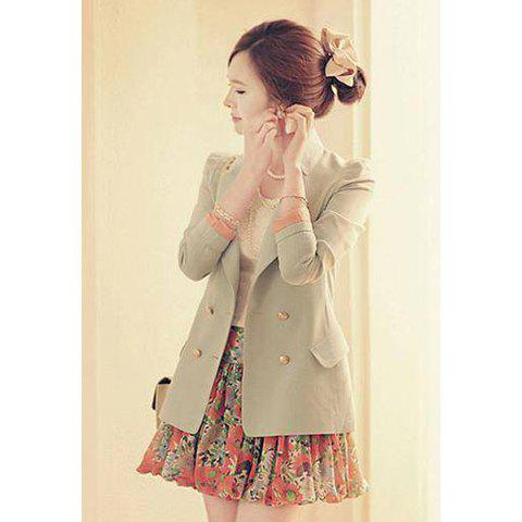 Elegant Long Sleeve Cotton Jacket For Women - AS THE PICTURE L