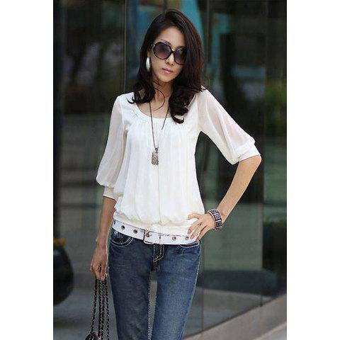 Scoop neck elastic hem cotton splicing pleated chiffon women s blouse