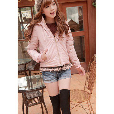 Casual Hooded Lace Hem and Solid Color Design Women's Cotton-Padded Coat - PINK XL