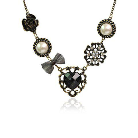 Sweet Style Rhinestone Inlaid Heart Flower Multielement Pendant Necklace - AS THE PICTURE