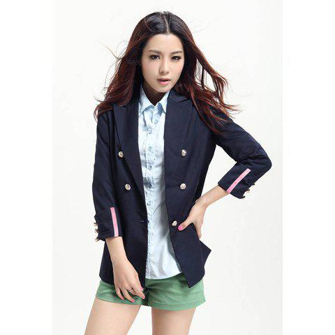 Morden Style Slimming Tailored Collar Solid Color Long Sleeves Cotton Blend Women's Blazers - DEEP BLUE XL
