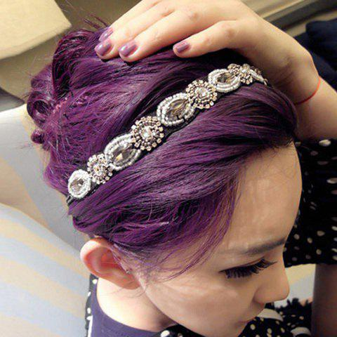 Fashion Gorgeous Style Rhinestone Embellished Vintage Hair Band For Women - SILVER WHITE