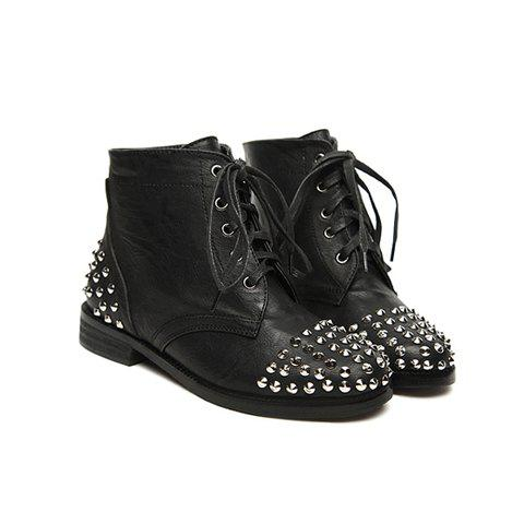 Rivet and Solid Color Design Women's Short Boots