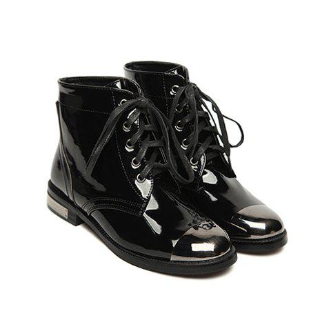 Solid Color and Lace-Up Design Womens Short Boots - BLACK 37