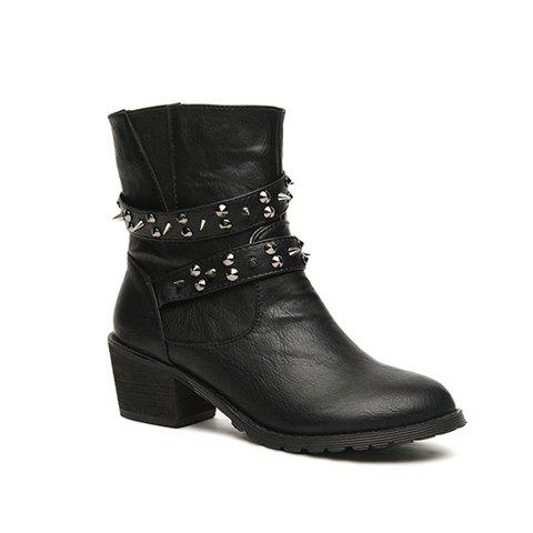 Rivet and Solid Color Design Chunky Heel Women's Short Boots - 35 BLACK