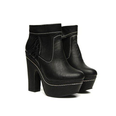Solid Color and  Tassels Design Women's Short Boots - BLACK 37