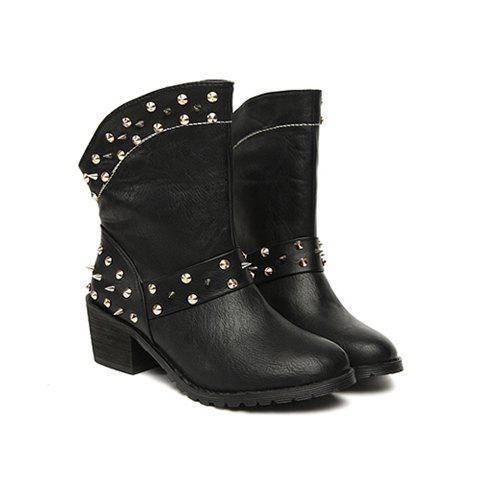 Solid Color and Rivet Design Chunky Heel Women's Short Boots - BLACK 39