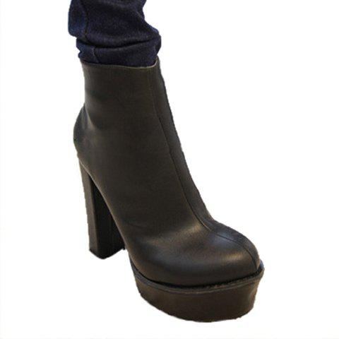 Laconic Stylish Solid Color Chunky Heel Design Women's Platform Boots - BLACK 37