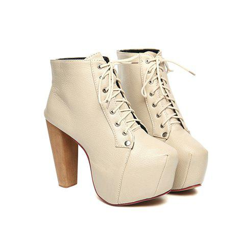 Solid Color and Lace-Up Design Women's Short Boots - WHITE 35