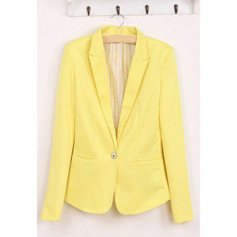 Slimming Single Breasted Design Long Sleeves Multicolor Cotton Blend Women's Blazer - YELLOW S