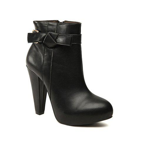 Laconic Casual Solid Color Chunky Heel Bow Design Womem's Boots - BLACK 36