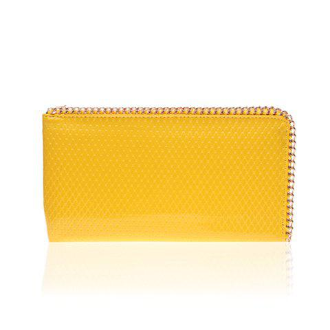 Weaving and Metal Design Women's Clutch bag - YELLOW