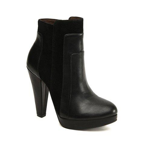 Casual Laconic Chunky Heel Splicing Design Women's Platform Boots - BLACK 36