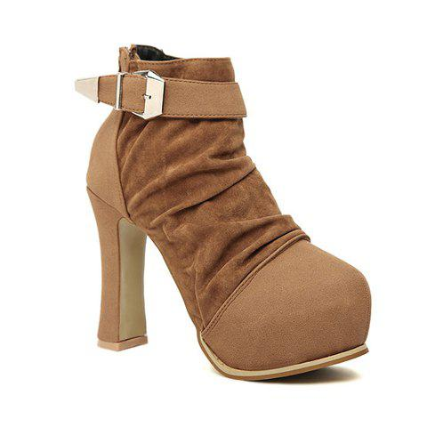 Casual Stylish Color Matching Belts Design Women's Platform Boots - BROWN 36